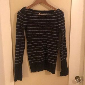 Navy and white striped free people sweater